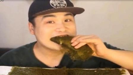 韩国大胃王 胖哥吃烤紫菜, 吃出了棉花糖的感觉
