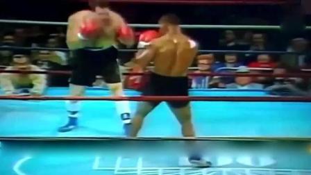 经典拳赛, 泰森对打美国巨人, 直接将对手放倒在擂台上!