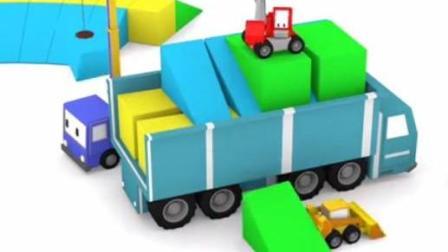 儿童工程车卡通 迷你挖掘机起重机推土机在嘉年华坐过山车 组建巨型滑梯和海洋球池