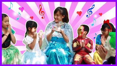 艾莎公主的魔法玻璃杯 白雪公主奥特曼喝了怪物小丑的水都闹肚子了 小伶玩具