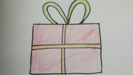 早教简笔画: 孩子想要圣诞礼物, 那就画一份吧, 上色好看