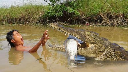柬埔寨小男孩河里捞鱼, 却遇上这只可怕的鳄鱼, 吓得我心惊肉跳!