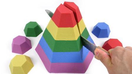 六角动态沙彩虹锥蛋糕儿童学英语字母太空沙粉红猪小妹泥 惊喜鸡蛋动力砂【俊和他的玩具