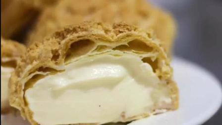 酥皮泡芙原来是这么做的, 满满的卡仕达奶油馅, 真的好吃