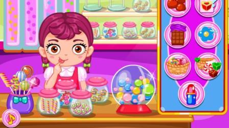 冰雪奇缘芭比公主宝宝糖果店偷懒: 爱吃糖小朋友的益智成长游戏视频