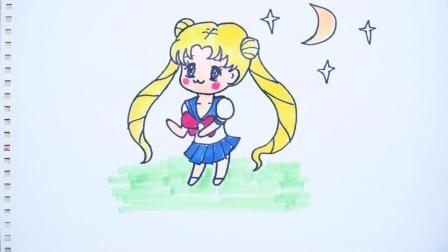 神笔简笔画 美少女战士月亮, 儿童绘画马克笔系列教程