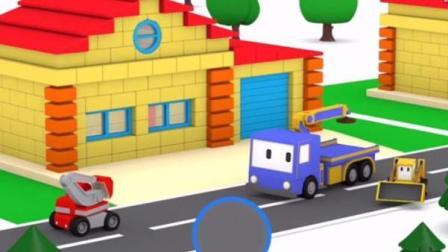 儿童工程车卡通 迷你挖掘机爱得起重机查理推土机组建巧克力糖果车和建造彩色童话屋