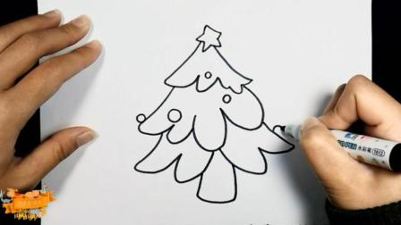 圣诞节彩色简笔画, 画一棵好看的圣诞树