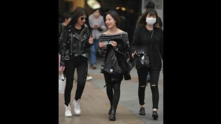 街拍: 三个时尚美女, 还是穿黑色丝袜的美女好看