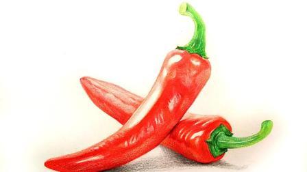 彩铅画红辣椒的示范 彩铅辣椒画法视频教程 小雪彩铅作品