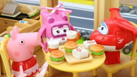 超级飞侠乐迪为长颈鹿姐姐的汉堡店送包裹
