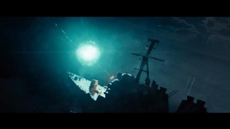 《超级战舰》阿利伯克级驱逐舰运用浮标浮动锁定外星战舰, 发射战斧击毁两艘外星战舰