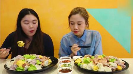 大胃王密子君一口气吃两大盘的饺子, 挑战者轮流上都吃不赢她一人