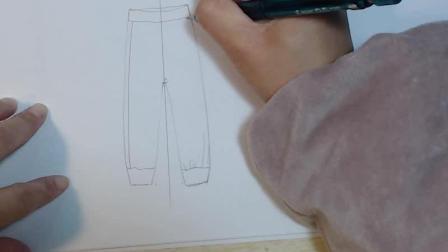 服装设计款式图教学: 罗纹脚口裤子绘制