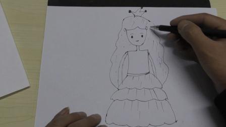简笔画工坊: 卡通美女公主手绘, 画人物原来这么简单