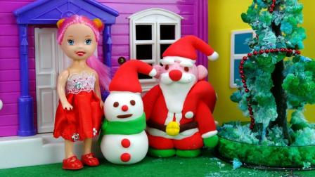 玩具学堂 2017 芭比娃娃的新朋友 圣诞老人和小雪人 儿童彩泥手工玩具过家家 703