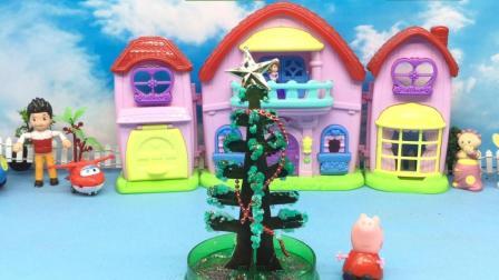 红果果小猪佩奇视频 第一季 小猪佩奇制作神奇的圣诞树 纸树开花