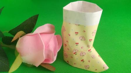 圣诞节到了, 教你折一双圣诞靴子, 创意DIY折纸艺术, 手工折纸秀大全