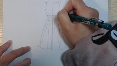 服装设计款式图视频教程: 一字领连身裙绘制