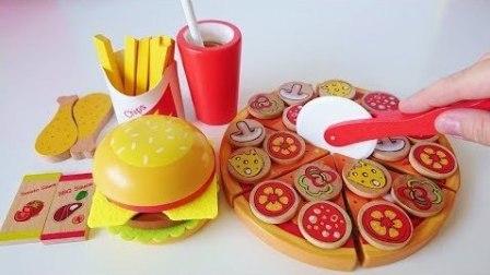 玩具 切割 比萨 和 汉堡包 Toy cutting pizza