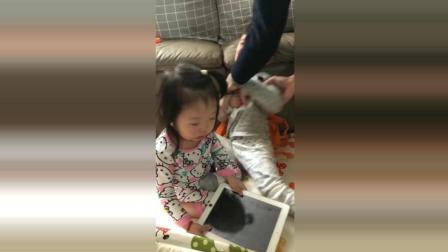 哥哥的平板电脑被妹妹拿走了, 接下来妹妹的反应太可爱了!