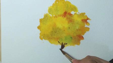 美术老师教你如何用水彩画出秋天的风景树