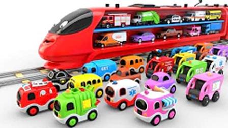 托马斯火车拉颜色汽车玩具动画视频