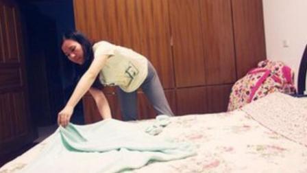 50岁保洁大妈教你这样快速叠床单, 别告诉别人!
