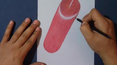 3D手绘教学, 手把手教你在纸上画一只蜡烛, 像真的一样