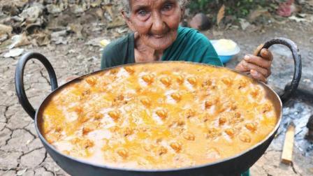 印度106岁老祖奶用3斤鸡肉煮10斤洋葱, 最后出锅我看呆了
