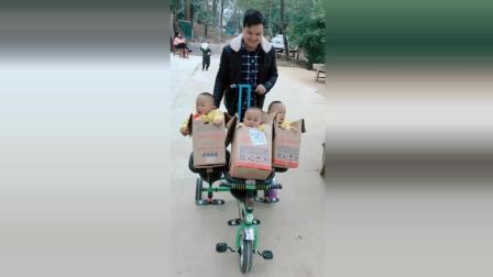 爸爸把三胞胎打包去赶集, 接下来宝宝们的反应太可爱了!