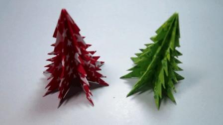 圣诞节手工折纸: 圣诞树折纸简单的几个步骤就能完成
