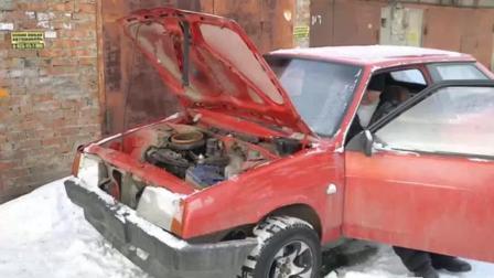 农民买了辆二手轿车, 早上起来发动机不能启动, 细看气坏了