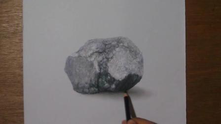 3D手绘教学, 手把手教你画一个立体的石头, 真假难辨