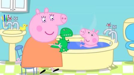 《小猪佩奇》: 乔治的新恐龙玩具没电了, 里边装了很多电池