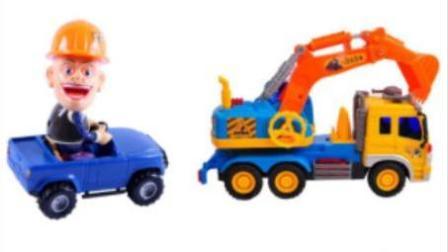 玩具视频惯性汽车 推土机动画片 光头强购买挖掘机