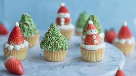 4种圣诞风草莓杯子蛋糕, 手残党也能做