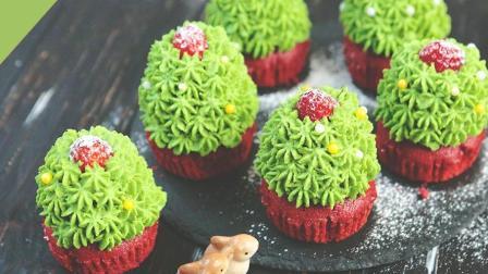30秒教你做圣诞树红丝绒杯子蛋糕