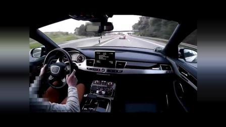 奥迪A8高速被重机超车, 瞬间火力全开, 狂飙300!