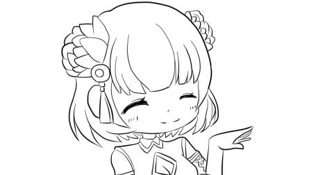 可爱微笑的小女孩动漫简笔画