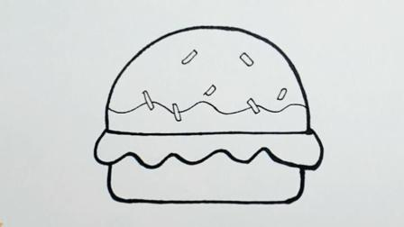 育儿早教绘画: 跟宝宝一起画彩色的汉堡包简笔画吧