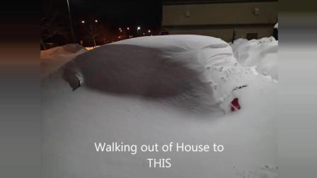 大雪把汽车淹没了, 看下牛人怎么把它给开出来