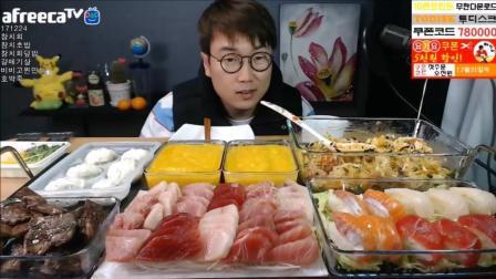 韩国大胃王大叔, 吃金枪鱼生鱼片盖饭寿司、海鸥肉、蒸饺、南瓜粥