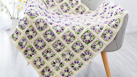 棉柔朵朵编织小屋  静若繁花毯子编织视频教程