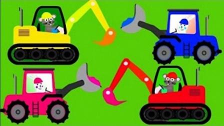 儿童工程车卡车挖掘机认知 卡通吊车铲车表演视频