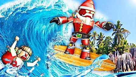 【屌德斯&小熙】 Roblox荒岛求生模拟器 圣诞钢铁侠与小精灵在不同的岛屿躲避各种自然灾害!