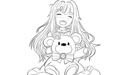 抱着玩具小熊的可爱的小女生卡通动漫简笔画
