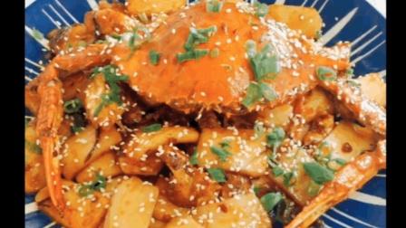 自制梭子蟹炒年糕, 蟹的味道融入到年糕里, 味道非常好