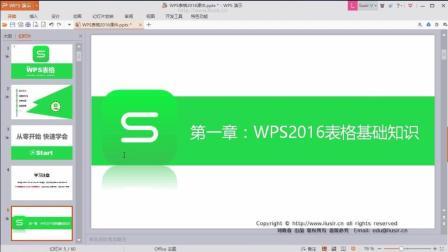 1.1WPS16表格功能作用和界面简介