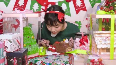 大胃王朵一为了庆祝圣诞节一人狂吃了3个大蛋糕和各种甜品, 你不怕胖吗?